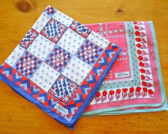 2 Handkerchiefs Man's Hanky Hankie Vintage Hankys Hankies Antique Handkerchief Hankerchief Designer Pertus