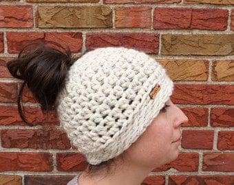 Messy Bun Hat - Crochet Ponytail Hat - Crochet Messy Bun - Bun Hat - Crochet Messy Bun - Messy Hair Hat - Messy Hair Bun Hat - Ponytail Hat