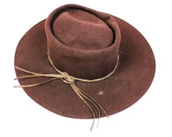 Le Charme Brown Wide Brim Hat