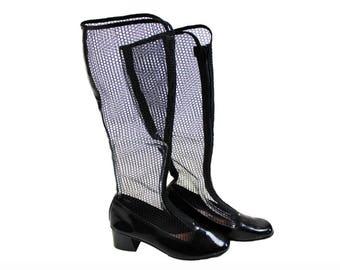 1960s Japanese Fishnet Patent Gogo Boots