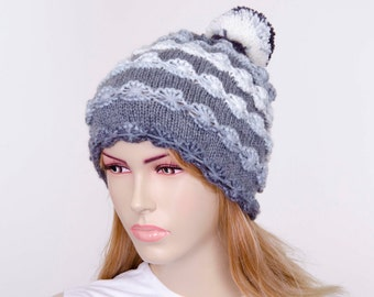 Pompom hat knitted colorful beanie hat, winter  hat,shades of grey