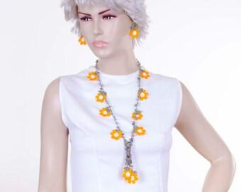 Crystal necklace ,Turkish oya necklace ,Crochet bead necklace  jewelry, crochet necklace, crochet flower necklace