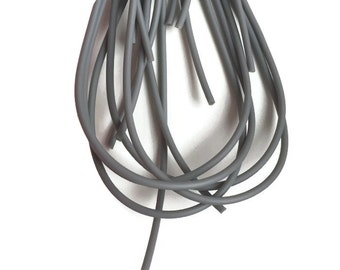 1m Rubber Cord 2mm, Grey PVC Cord, Solid Round Synthetic Rubber S 40 159