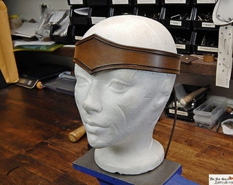 Medieval carved plain leather crown (circlet) with antique brown finish