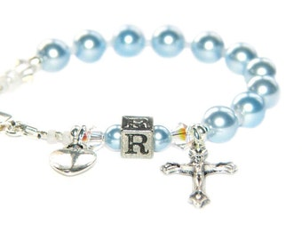 Personalized Baby Rosary Bracelet, You Choose Letter - Swarovski® Pearls