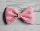 Pink {MILLIE} Bow - You Choose Nylon Headband or Alligator Clip - Felt Bow - Ready to Ship