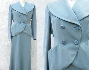 Vintage 1940s Double Breasted Blue Dress Jacket and Skirt Old Hollywood Wedding Suit XSmall
