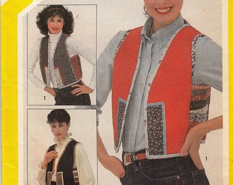 "Women's Sewing Pattern Quilted Vest Reversible 1980's UNCUT Sizes 10-20 Included Bust 32.5-42"" Plus Size Simplicity 5132"