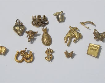 Vintage Gold Pins, Vintage Gold Tie Tacks, 13 Assorted Pins in Gold Tone