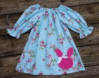 Girl's Infants Toddlers Blue Shabby Chic Floral with Bunny Applique Peasant Dress