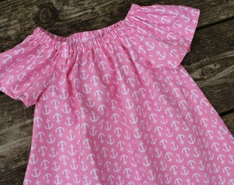 Girl's Infants Toddlers Pink and White Anchor Peasant Dress