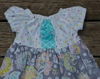 Girl's Infants Toddlers Gray Paisley and Aqua Quatrefoil Ruffle Peasant Dress