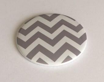 "2.25"" Handmade Pocket Mirror White and Gray Chevron"