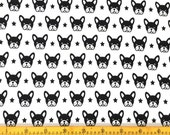 """Boston Terrier - Jersey Knit Fabric - Dog Fabric - Baby Fabric - Nursery Fabric - Black and White - Cotton Fabric - Minimalist - 28"""" Remnant"""