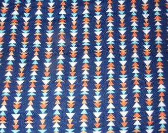 Triangle Fabric - Navy Fabric - Geometric Fabric - Cotton Fabric - Flannel Fabric - Tribal Fabric - Orange Fabric - Blue Fabric - Yard