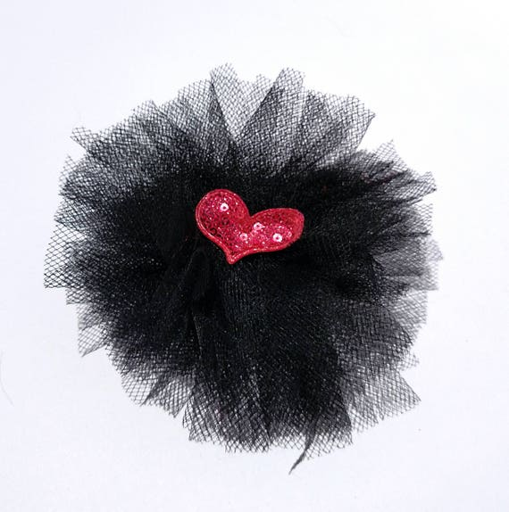 Recycled Vintage Fabric Flower Clip - Black with Pink Heart
