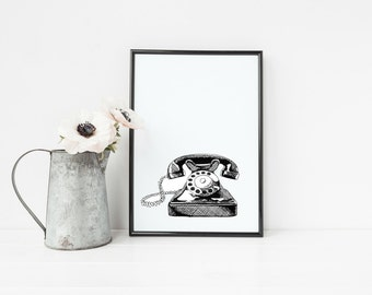 "Retro Telephone Print | 8"" x 10"" Illustration 