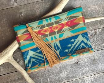 Pendleton Wool Clutch with Acorn Leather Tassel // Rosebud Originals