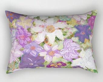 Spring FLORAL Lumbar Pillow, Rectangular, Romantic, Chic, White, Purple, Pink, Green, Modern Bedding, Bright, vivid colors, artwork print
