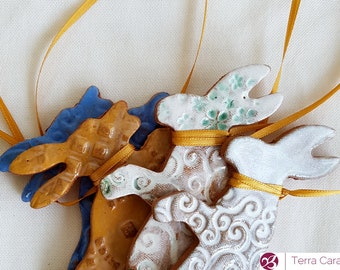 4 Ceramic Easter Bunnies - Easter Decoration - Ceramic decoration ~ hanging hare - Easter bunny decoration - Easter gift