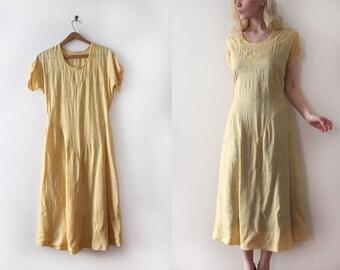 vintage 1920s dress // 20s 30s yellow tissue silk dress