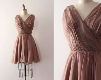 vintage 1960s dress // 60s brown chiffon mini party dress