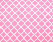 Flannel Fabric by the Yard in a Pink and White Trellis Print 1 Yard