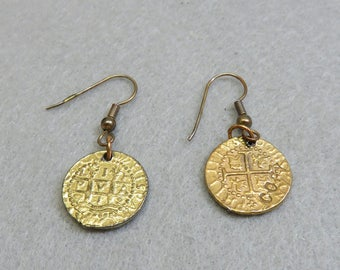 Pierced  Earrings, Atocha Replica Coins, Spanish Treasure Coin Earrings