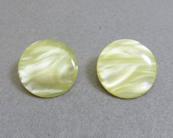Soft Yellow Button  Clip Earrings, 1980s Vintage Clip On Earrings