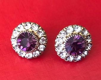 Early Two Tier Purple and Clear Rhinestone Pierced Stud Earrings