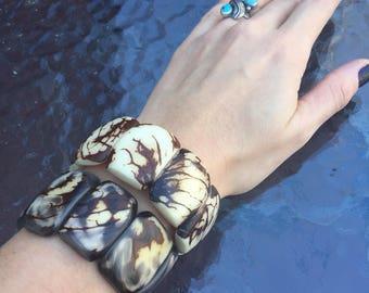 SALE: Set of Two Tagua-Nut Bracelets, Tagua, Boho Jewelry, Boho chic