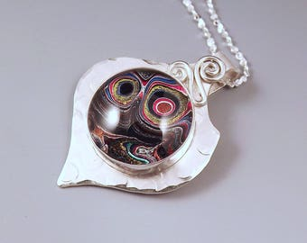 Harley Davidson- Fordite- Super Sparkle Swirls- Michigan Made- Sterling Silver Fordite Pendant