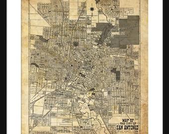 1924 San Antonio Street Map Vintage Print Poster Sepia