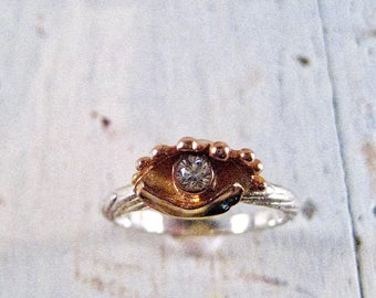14 kt. Evil Eye Ring with Silver Cuttlefish Band and CZ