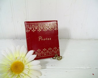 Photo Album Red Leatherette Spiral Bound Miniature Binder - Retro Petite Cherry Red with Gold Tooled Trim Mid Century Photo Book Never Used