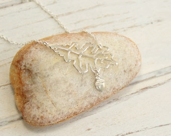 Sterling Silver Oak Leaf Acorn Necklace... You Choose How Many Acorns Hang From The Tree