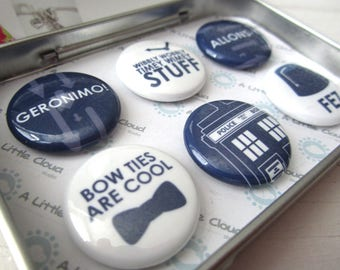 Doctor Who Inspired Magnets - timey wimey, wibbly wobbly, bow ties, fez, tardis, blue, whovian