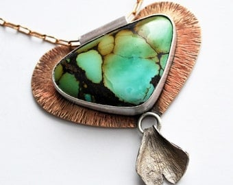 Turquoise, Bronze and Sterling Silver Ginko Statement Necklace
