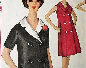 Vintage 1960's 1963 Simplicity Woman's Misses Double Breasted Coat Dress w/side Pockets Sewing Pattern 5273  Size 18 Bust  38