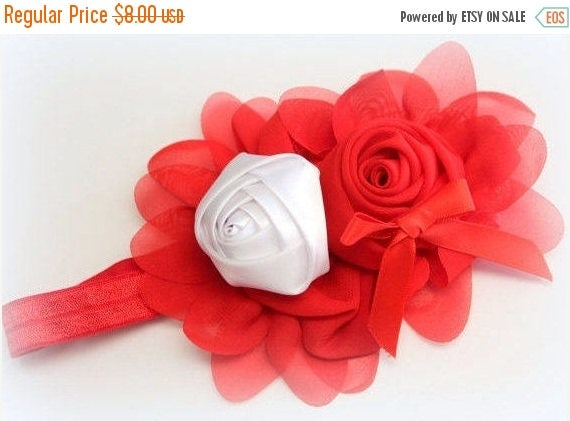 Red and White Flower Headband,Red Elastic Headband,Red Headband,Red Flower Girl Headband,Newborn Headband,Baby Headband,Toddler Headband