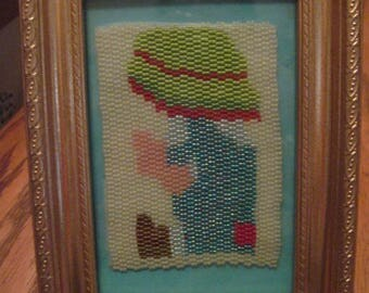FreeForm Beaded Holly Hobby Boy Picture with Frame....OOAK...hand made