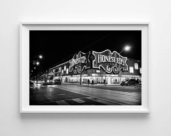 Toronto Honest Ed's and Streetcar at Night - Canadian Black and White Street Photography - Large Wall Art Prints Available