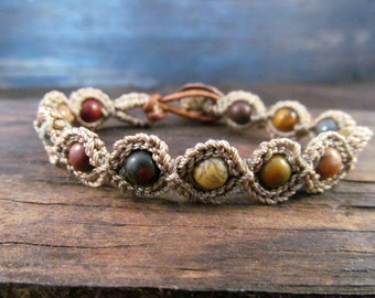 Earthy Multi Color Crochet Bracelet, Boho Style Jewelry, Beaded Bohemian Bracelet with Copper accents