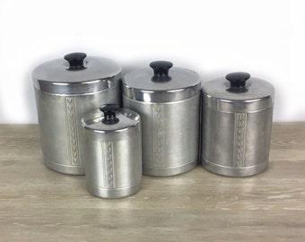 Mid century kitchen canister set aluminum canister set