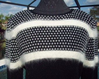 Black and White Angora striped Silver Sparkly Sweater by Susann d