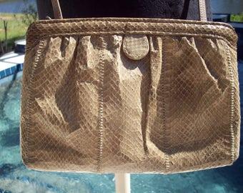 Tan Snake Skin Purse/Clutch by Clemente