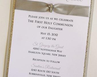 Silver Baptism-Communion Invitation with Mini Sparkling Cross; Rhinestone Buckle; Rhinestone Cross Brooch