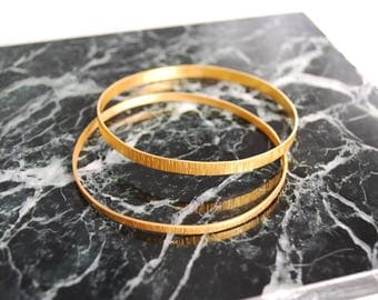 Gold Plated Bangles, Hammered Bangles, Brass Bangles, Set of Two Brass Bangles