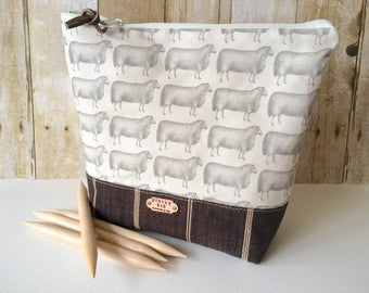 Sheep No. 4 Knitting Project Bag, Striped