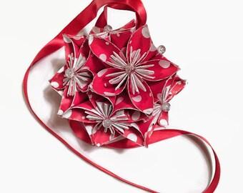 Red With White Polka Dot Kusadama Ornament, Valentine's Ornament, Red & White Paper Ornament, Valentine's Day Decor, Home Decor